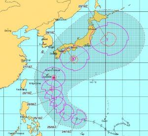 台風22号2017進路予想図
